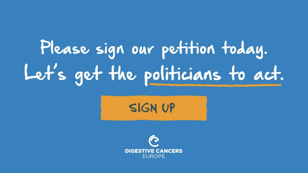 Digestive Cancers Europe animation sign the petition