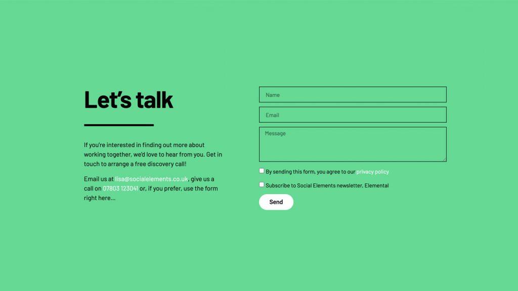 Social Elements let's talk