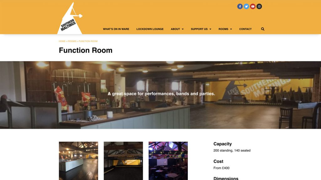 Southern Maltings website function room